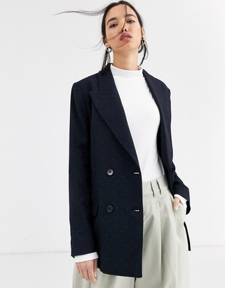Selected double breasted blazer-Navy