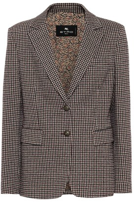 Etro Houndstooth cotton and wool blazer