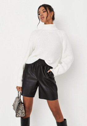 Missguided White Tuck Sleeve Cropped Turtle Neck Sweater