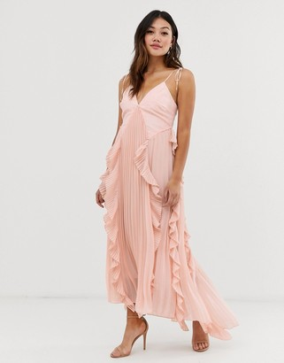 True Decadence premium cami dress with ruffle and pleated skirt in peach