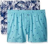 Tommy Bahama Men's 2 Pack Floral and Marlin Check Woven Boxer Set
