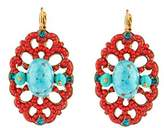 "Satellite Women's ""Stromboli"" Gold Plated Brass Turquoise Stones Drop Earrings"