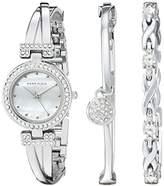 Anne Klein Women's AK/1869SVST Swarovski Crystal-Accented Silver-Tone Bangle Watch and Bracelet Set
