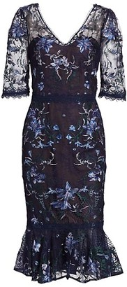 Marchesa Notte V-Neck Embroidered Lattice Tulle Sheath Dress