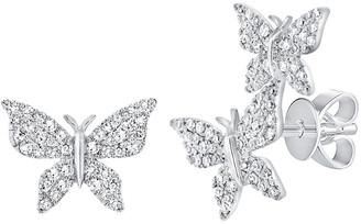 Sabrina Designs 14K 0.35 Ct. Tw. Diamond Butterfly Mismatched Studs