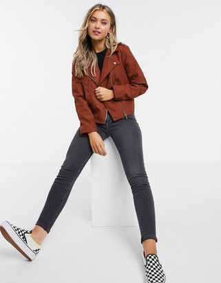 JDY faux suede biker jacket in red