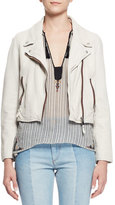 Etoile Isabel Marant Aken Cropped Leather Jacket, Chalk