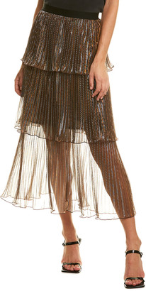 Self-Portrait Metallic Tiered Midi Skirt