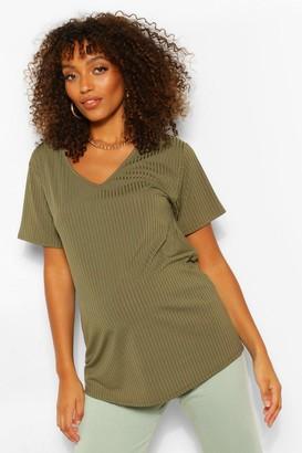 boohoo Maternity Oversized V Neck T-Shirt