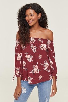 Ardene Floral Smocked Off Shoulder Blouse