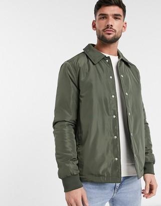 New Look padded coach jacket in dark khaki