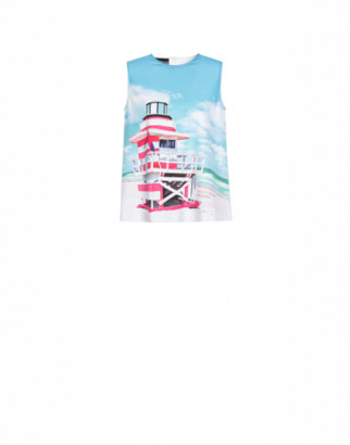 Boutique Moschino Cabin Beach Cady Top Woman Blue Size 38 It - (4 Us)