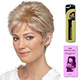 Kelley by Estetica, Wig Galaxy Hair Loss Booklet & Magic Wig Styling Comb/Metal Pick Combo (Bundle - 3 Items), Color Chosen: R4-8