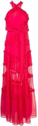 Alexis Lorinda ruffle-trimmed chiffon gown