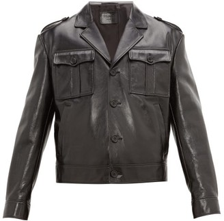 Prada Cropped Patent-leather Jacket - Mens - Black