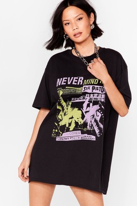Nasty Gal Womens Never Mind the Sex Pistols Graphic Tee Dress - Black - S, Black