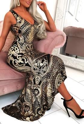 Pink Boutique Met Gala Glam Black Sequin Waterfall Hem Maxi Dress