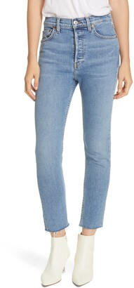 RE/DONE Raw Hem High Waist Ankle Jeans