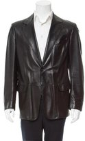 Giorgio Armani Leather Notch-Lapel Jacket