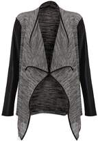VIP Womens Leather Sleeved Waterfall Cardigan (Mtc)