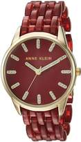 Anne Klein Women's Quartz Metal and Resin Dress Watch, Color:Red (Model: AK/2616BYGB)