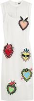 House of Holland Ribbed Jersey-trimmed Appliquéd Mesh Dress - UK6