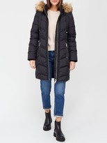Thumbnail for your product : Very Premium Padded Coat With Woven Trim - Black