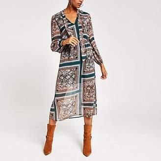 River Island Green printed long sleeve waisted midi dress