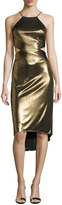 Halston Sleeveless Cutout Metallic Jersey Midi Dress, Bronze