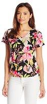 Caribbean Joe Women's Petite Printed Short Sleeve V-Neck Side Ruched Tee Shirt