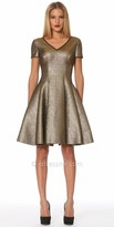 NUE by Shani Metallic Fit and Flare Cocktail Dress