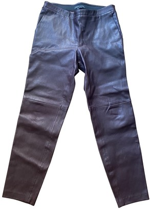 Theory Burgundy Leather Trousers
