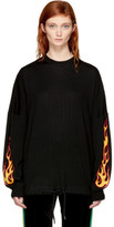 Palm Angels Black Palms and Flames Sweater