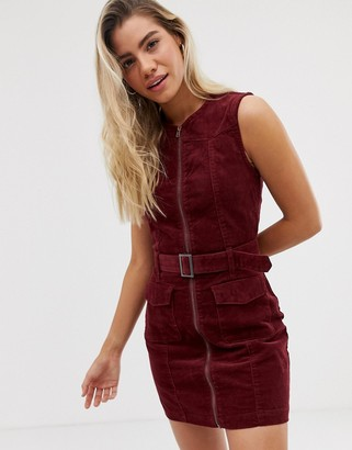 Urban Bliss Wednesday cord dress with zip front and belt detail-Red
