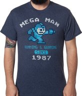 Freeze Men's Mega Man Running and Gunning Since 1987 Vintage T-Shirt Navy Heather XL