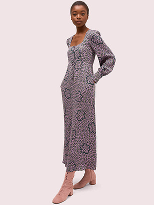 Kate Spade Flair Flora Crepe Midi Dress