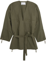 Alexander Wang Belted Cotton-twill Jacket - Army green