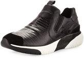 Ash Step Snake-Print Leather Sneaker, Black