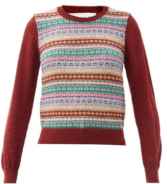 COMME DES GARÇONS GIRL Fair-isle Wool-blend Sweater - Burgundy Multi