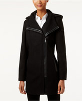 Calvin Klein Hooded Asymmetrical Walker Coat, Only at Macy's