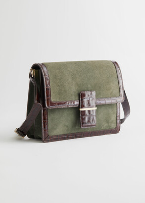 And other stories Suede Croco Trim Crossbody Bag