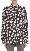Balenciaga Mini BB Jacquard Logo Silk Knotted Cuff Blouse