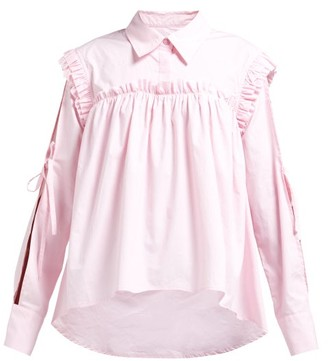 Preen Line Ruffled Slit-sleeve Cotton Shirt - Womens - Light Pink