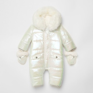 River Island Baby White iridescent snowsuit