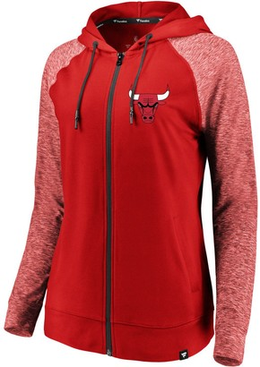 Möve Women's Fanatics Branded Red/Heathered Red Chicago Bulls Made to Static Raglan Performance Full-Zip Hoodie