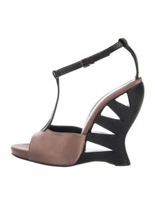 Bottega Veneta Cutout Accent T-Strap Sandals Purple
