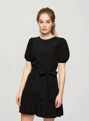 Miss Selfridge Black Lyocell Mini Fit And Flare Dress