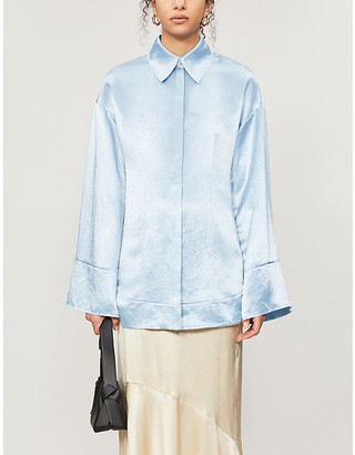 Acne Studios Flared-sleeve oversized satin shirt