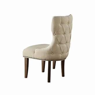 Benjara Fabric Upholstered Wooden Wing Back Chair with Nail head Accents