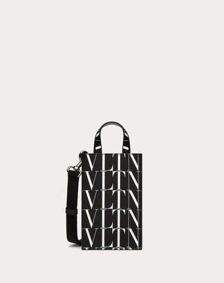 Valentino Garavani Uomo Vltn Times Mini Leather Tote Bag Man Black/white 100% Pelle Bovina - Bos Taurus OneSize